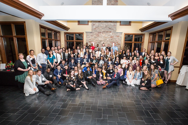 A group photo of student scholarship recipients at the 11th Annual Scholarship Dinner.